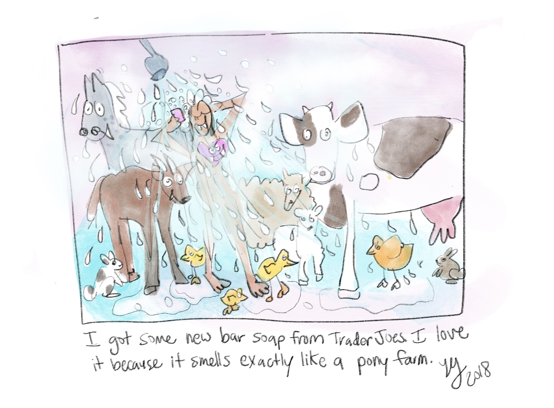 My new soap smells just like a pony farm so here is a comic about what it would look like if I were showering at a pony farm. This is a weird funny comic.