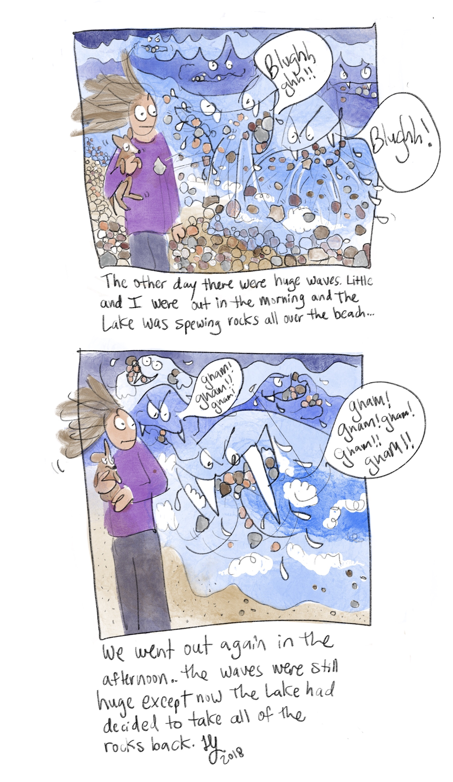 This is another silly comic about Lake Michigan. The lake puked up a bunch of rocks the other day. Then later in the day, it ate all the rocks. The lake is so weird.