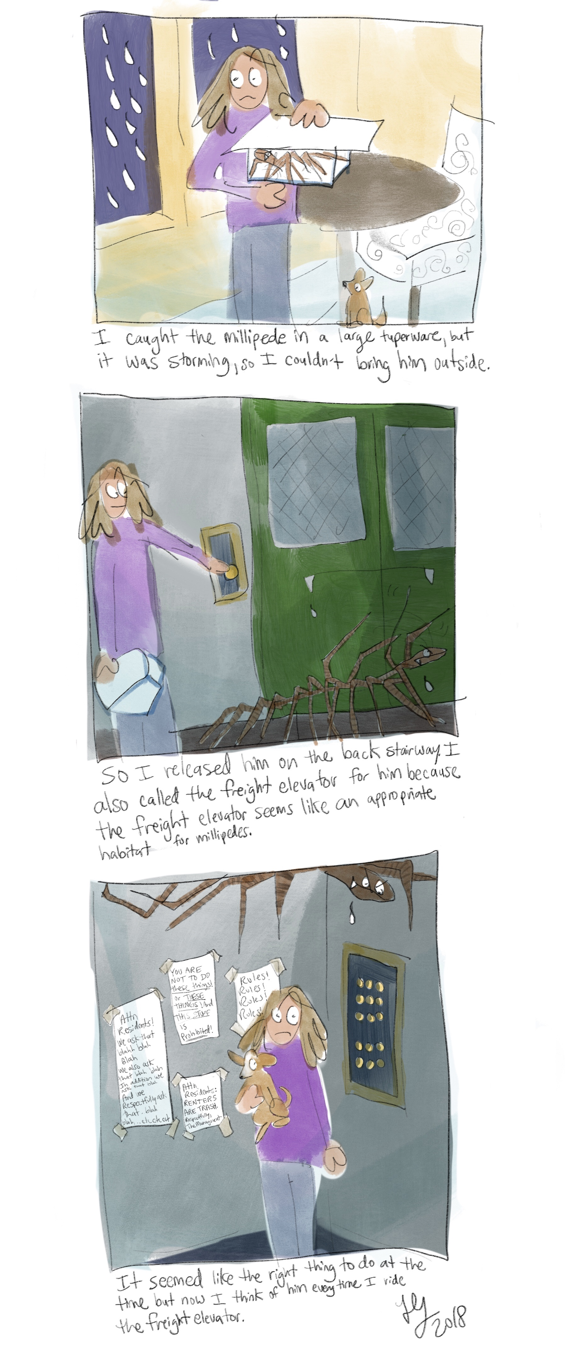 This is a comic about the time that I caught a big millipede during a storm. I couldn't put him outside so I put him in the freight elevator. Now I always think about him when I ride the freight elevator. This is an autobiographical comic.