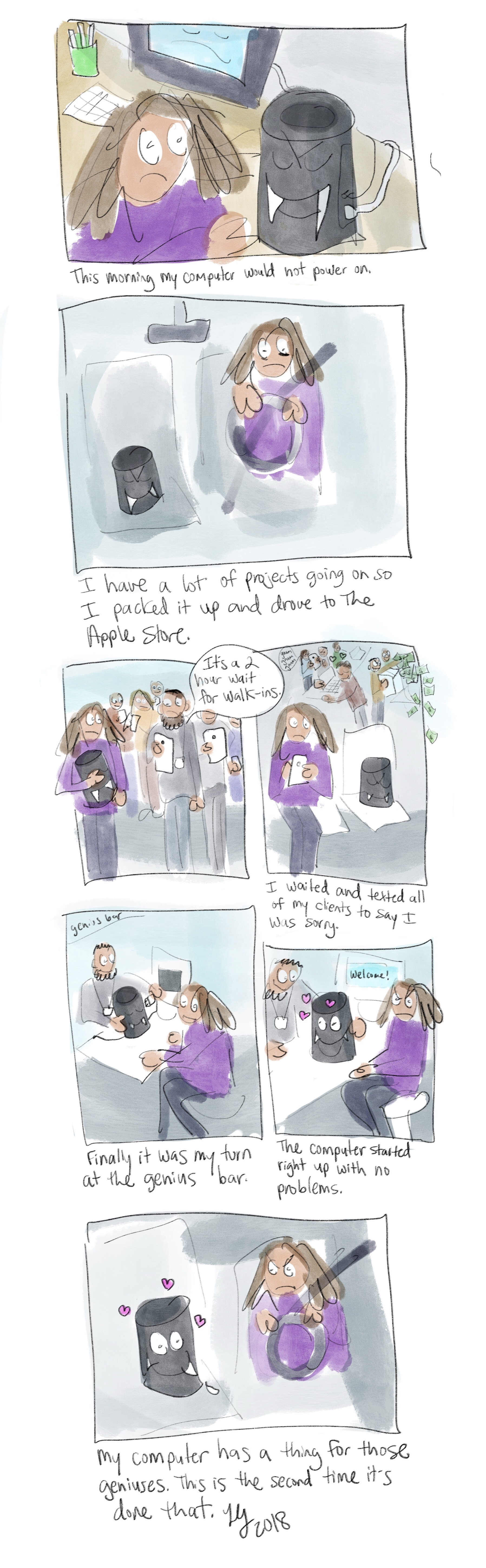 This is a funny autobiographical comic about how my computer refused to turn on. I took it to the apple store, where it started up perfectly. I think my computer has a crush on the nerds of the genius bar.