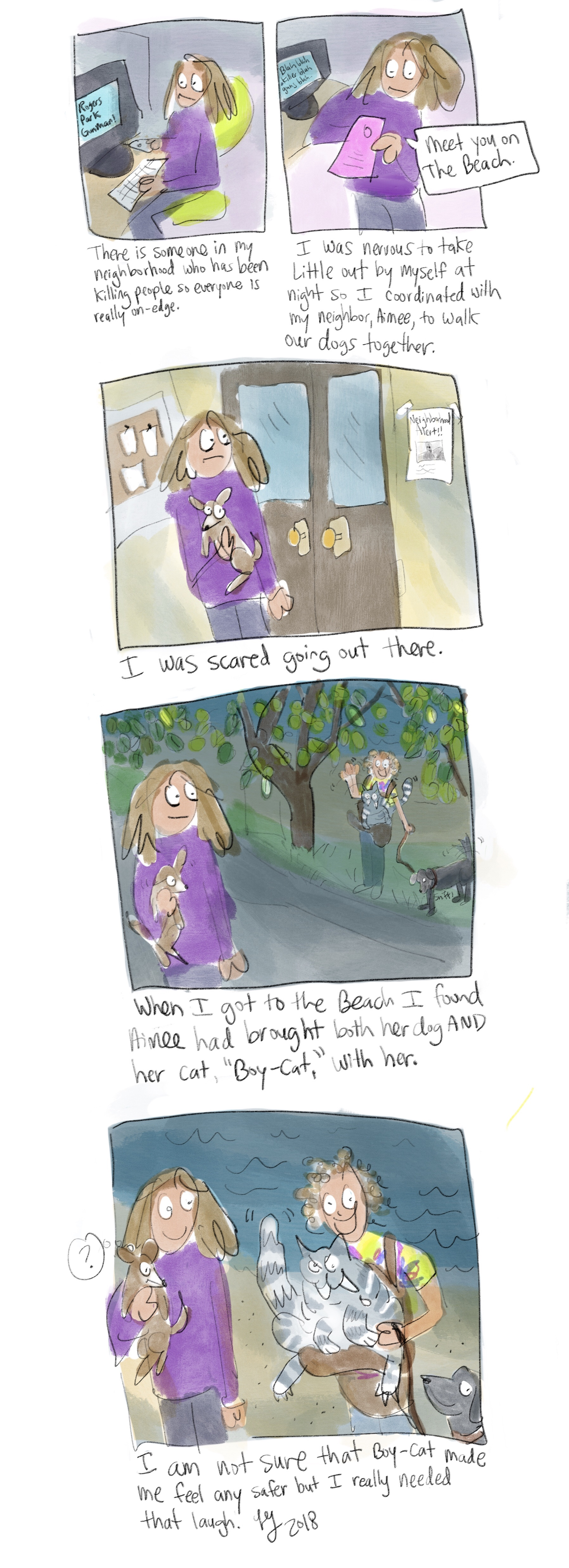 Because of the Rogers Park shooter we've been trying to walk our dogs at the same time. Aimee also brings her cat with. He is a big boy. This is a comic about boy cat.