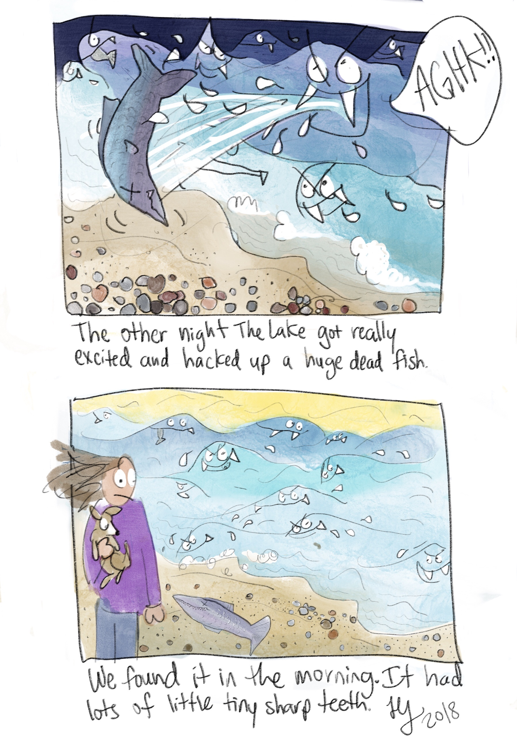 I drew this funny autobiographic comic about Lake Michigan. Sometimes it randomly pukes up random things. This morning out of no where there was an enormous dead fish on the beach. It had lots of tiny little pointy teeth. I like drawing the waves with fangs.