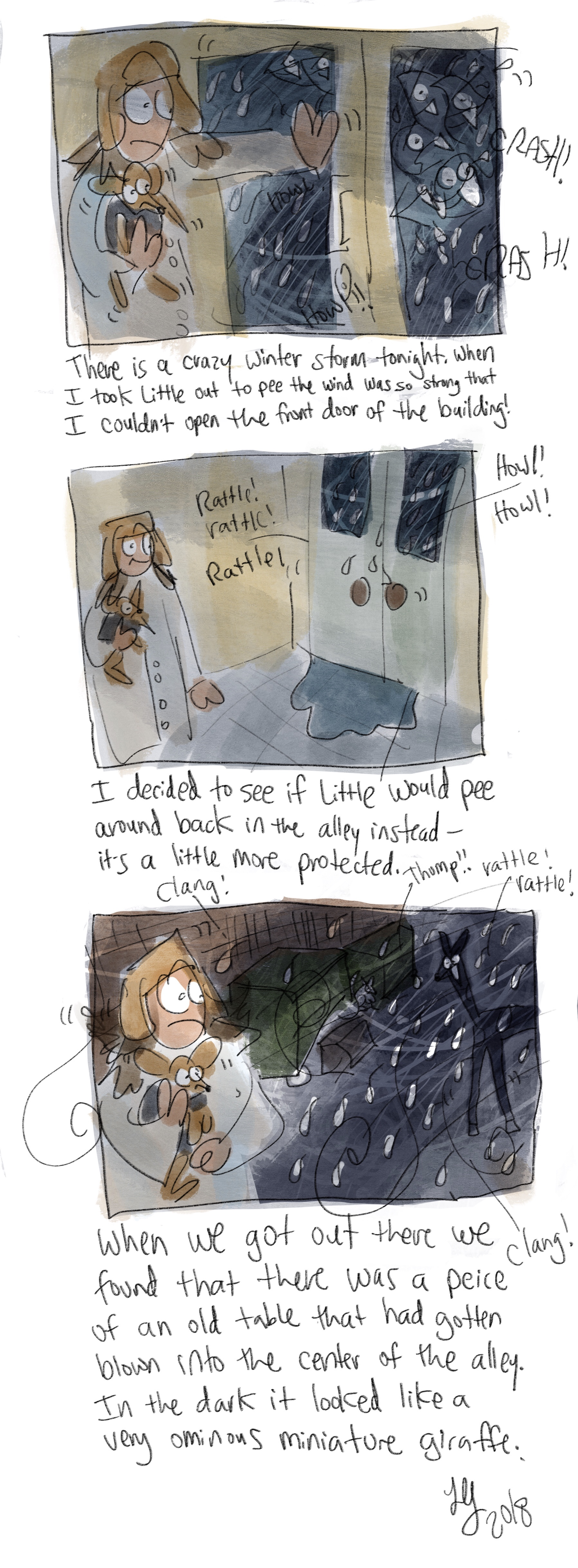 Living right by the lake sometimes we get some wild weather, especially in the winter. This is a comic about one of the winter storms that came through. My dog refused to pee that night and I don't blame her. There was a piece of furniture that blew into the alley and it looked like a miniature giraffe.