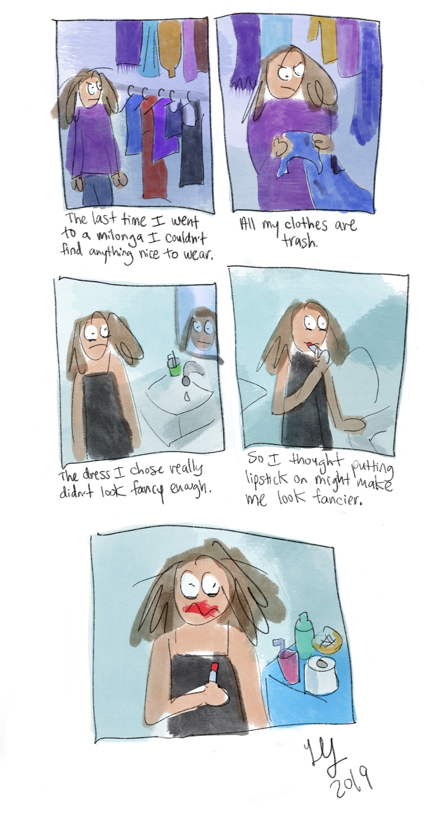 This is a funny comic about how messed up if feels to me when I try to wear make-up.